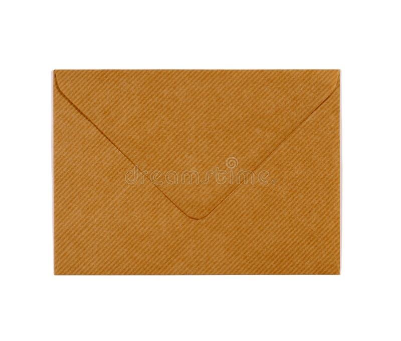 Manila brown papieru koperta odizolowywająca na białym tle, zamykającym zdjęcia royalty free
