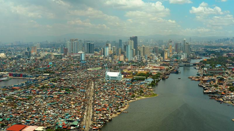 Manila, the capital of the Philippines aerial view. stock images