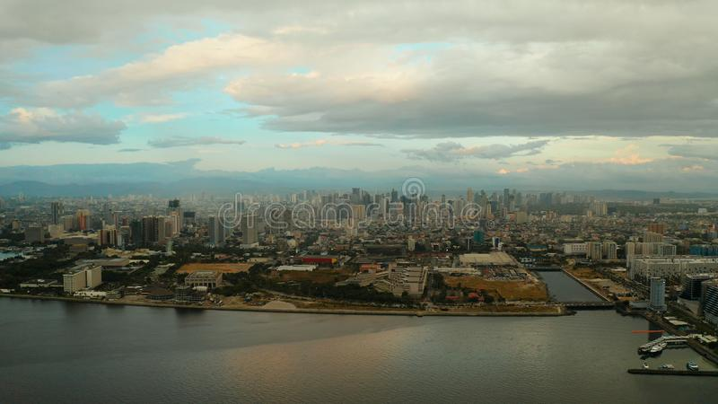 Manila, the capital of the Philippines, aerial view. royalty free stock image