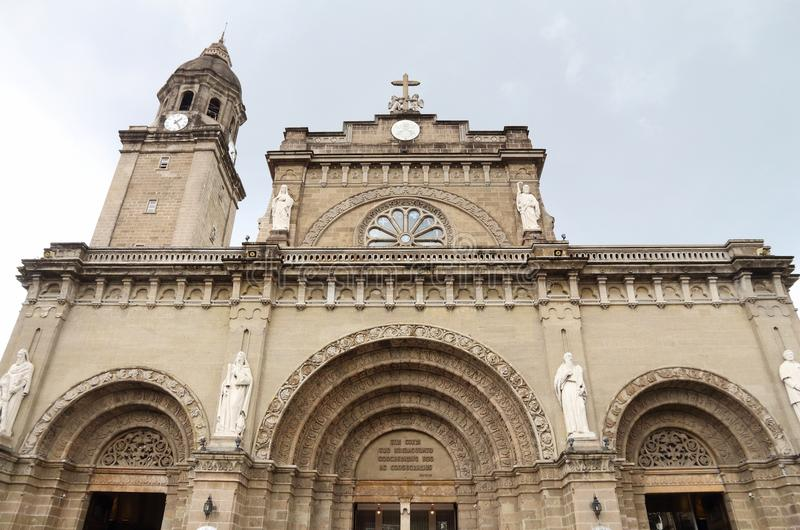 Manila Cathedral basilica. Manila Cathedral of Immaculate Conception in Philippines royalty free stock photos