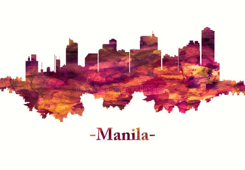 Manila city Philippines skyline in red vector illustration