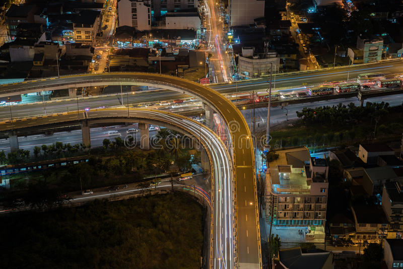 Manila city skyline nightview , Manila , Philippines royalty free stock photography