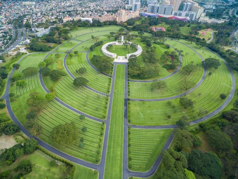 Manila den amerikanska kyrkogården och minnesmärken Lokaliserat i Fort Bonifacio, Taguig stad, tunnelbana Manila Det har det stör arkivbilder