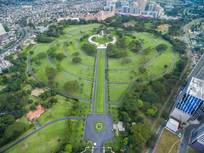 Manila den amerikanska kyrkogården och minnesmärken Lokaliserat i Fort Bonifacio, Taguig stad, tunnelbana Manila Det har det stör royaltyfri bild