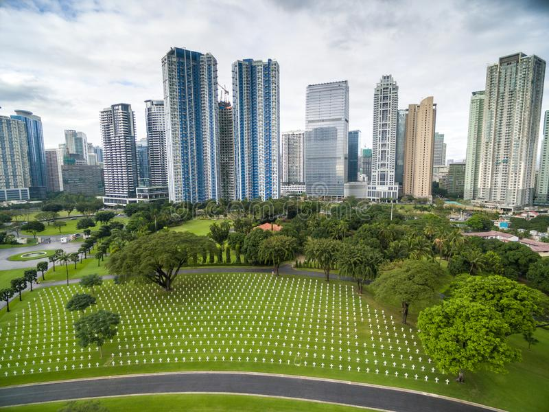 Manila den amerikanska kyrkogården och minnesmärken Lokaliserat i Fort Bonifacio, Taguig stad, tunnelbana Manila Det har det stör arkivbild