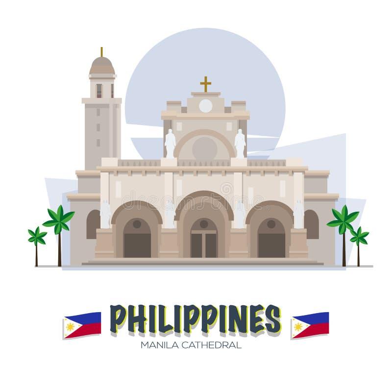 Manila domkyrka Filippinernagränsmärke ASEAN-uppsättning - stock illustrationer