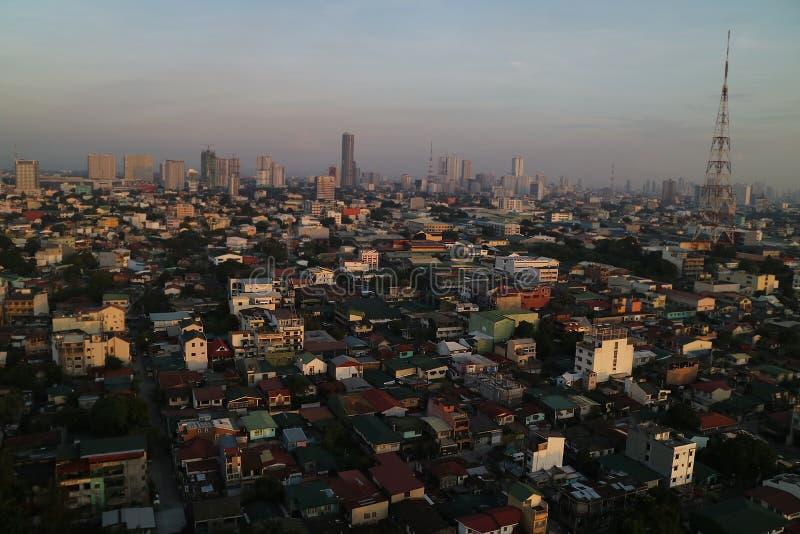 Manila, Filipiński linia horyzontu zmierzchu widok obrazy royalty free
