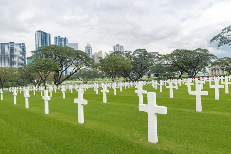 MANILA FILIPPINERNA - FEBRUARI 03, 2018: Den amerikanska stridmonumentkommissionen Manila amerikansk kyrkogård och minnesmärke La arkivbilder