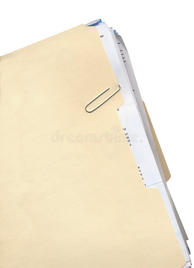 Manila Folder And Paper Clip Stock Images Image 1298244