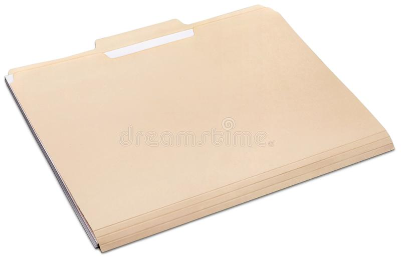 Manila folder with some documents in it. on a. Document folder manila yellow white background object stock photo