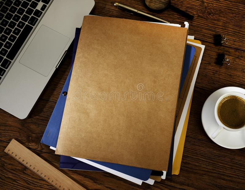 Manila folders from above stock images