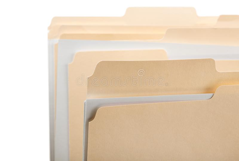 Manila folders with some documents in it. on a royalty free stock photo