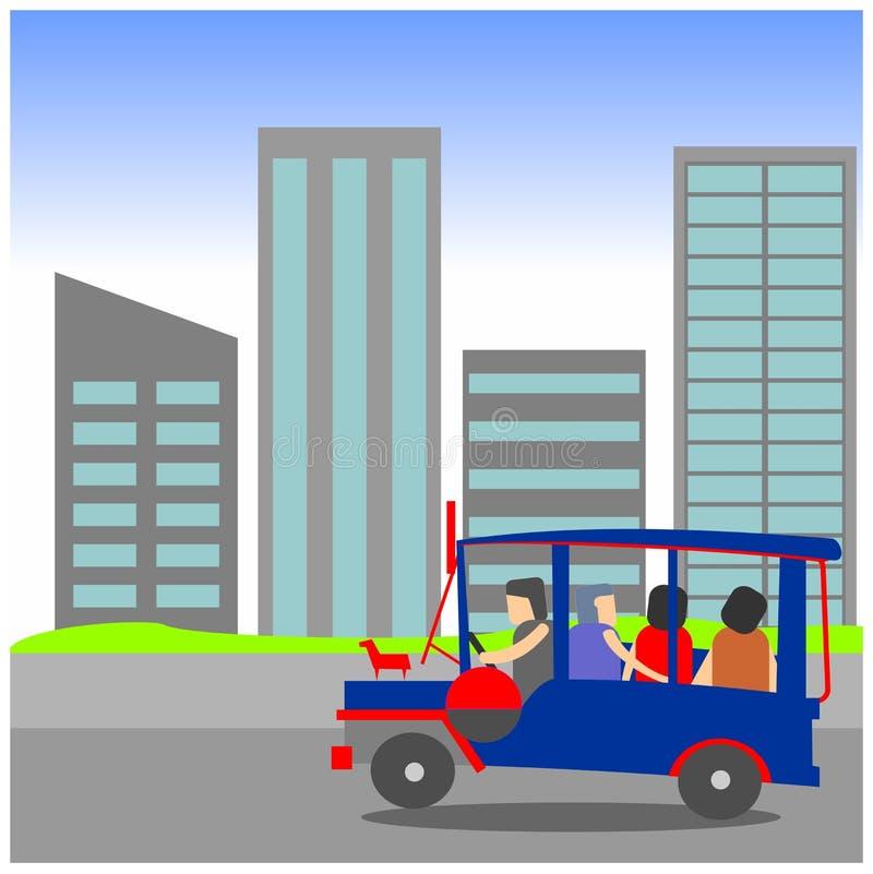 Manila Jeepney city scape vector illustration
