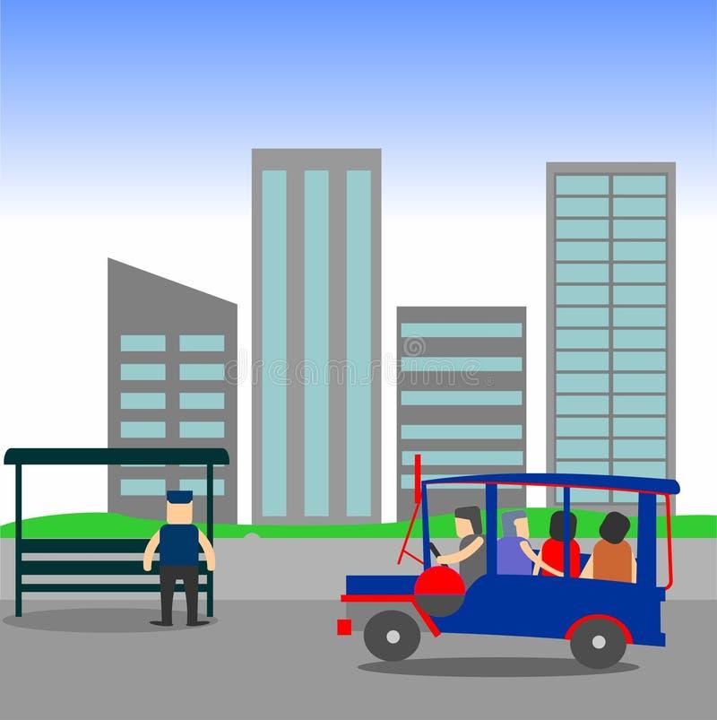 Manila Jeepney city scape royalty free illustration