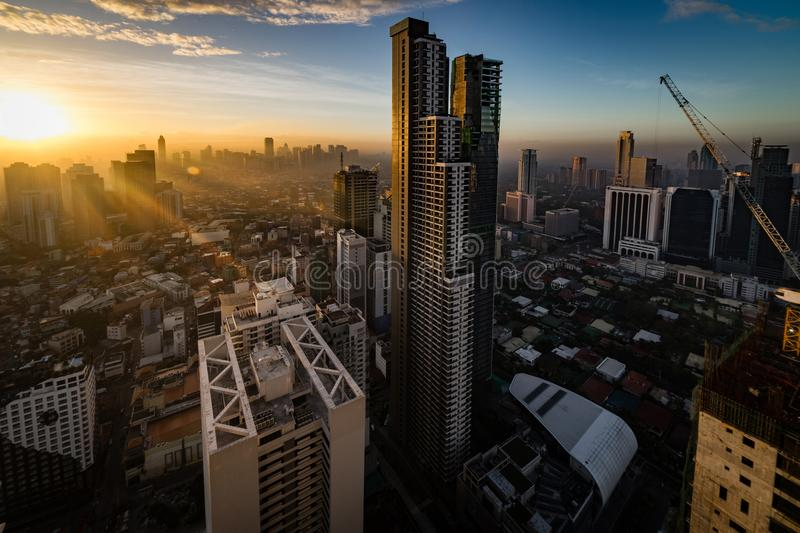 Manila at morning dawn stock images
