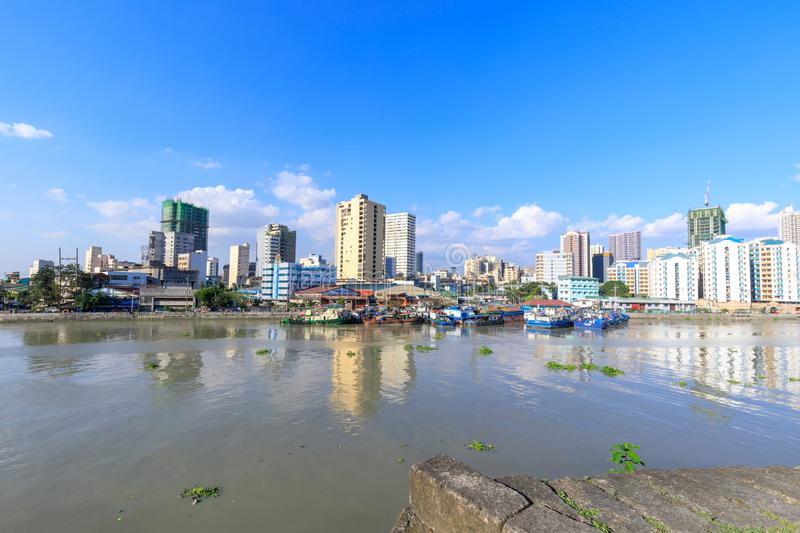 Manila pasig river view from Fort Santiago view deck, Intramuros, Manila, Philippines royalty free stock image
