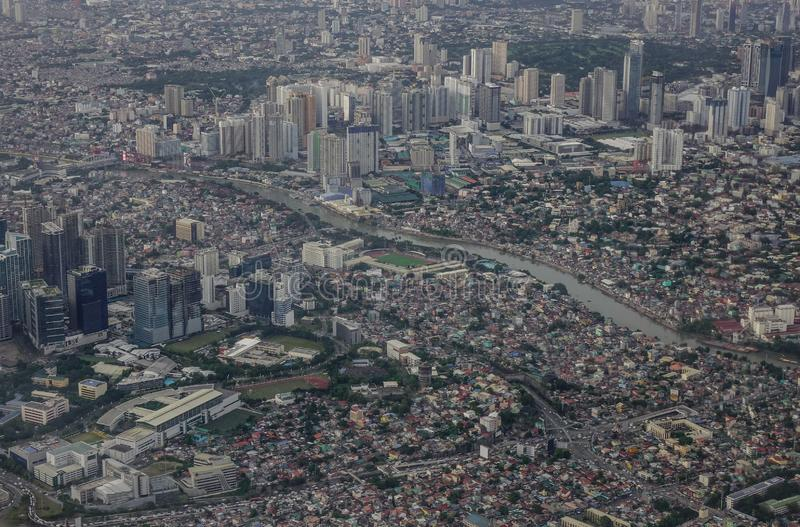 Aerial view of Manila city with skyscrapers royalty free stock image