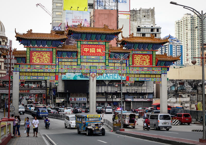 Chinatown Street in Manila, Philippines royalty free stock images