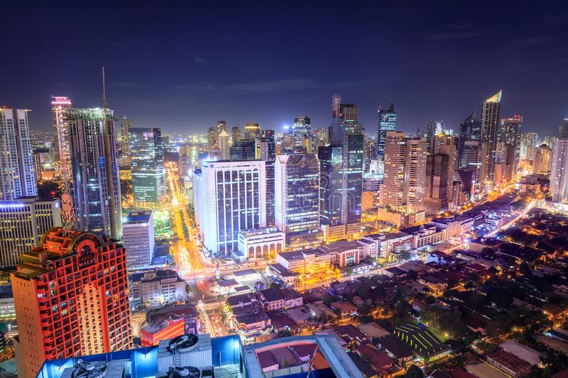 Eleveted, night view of Makati, the business district of Metro Manila royalty free stock photography