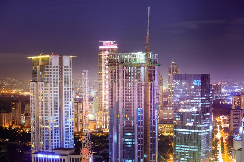 Eleveted, night view of Makati, the business district of Metro Manila royalty free stock images