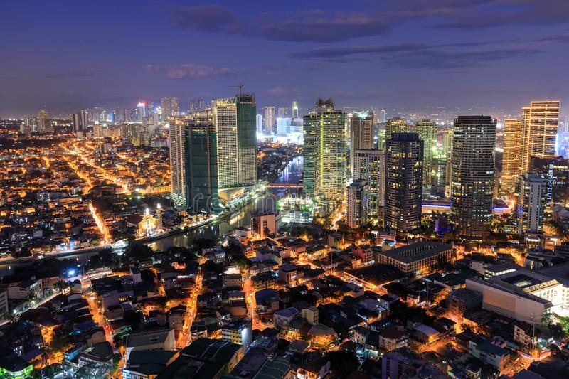 Eleveted, Night view of Rockwell, View from P Burgos Makati in Metro Manila, Philippines stock photography