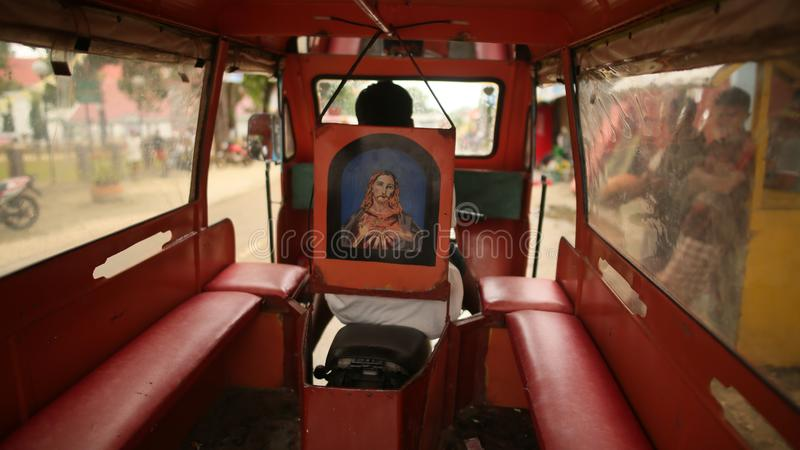 Manila, Philippines - January 5, 2018: Inside the car is a Jeepney taxi on the Philippine. Inside the car is a Jeepney taxi on the Philippine royalty free stock photo