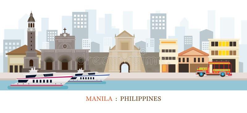 Manila, Philippines Landmarks Skyline stock illustration