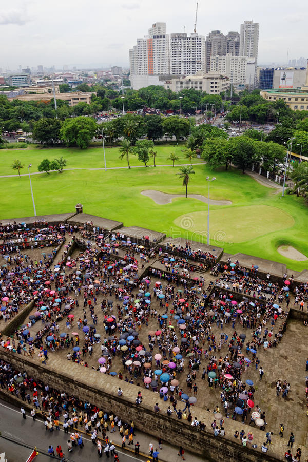Manila, Philippines. Local People Gather at the Bastion of the Intramuros Wall. Local people gather at one of the bastions baluarte of the defensive wall in the stock image