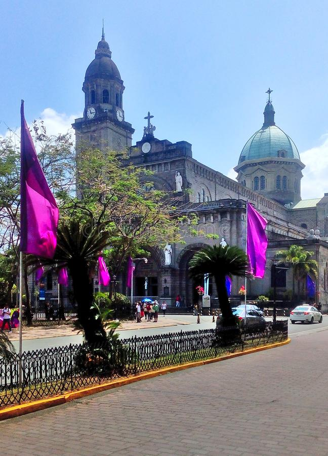 Manila Cathedral inside the walled City Intramuros. Manila, Philippines - March 18, 2019: Manila Cathedral inside the walled City Intramuros stock photography