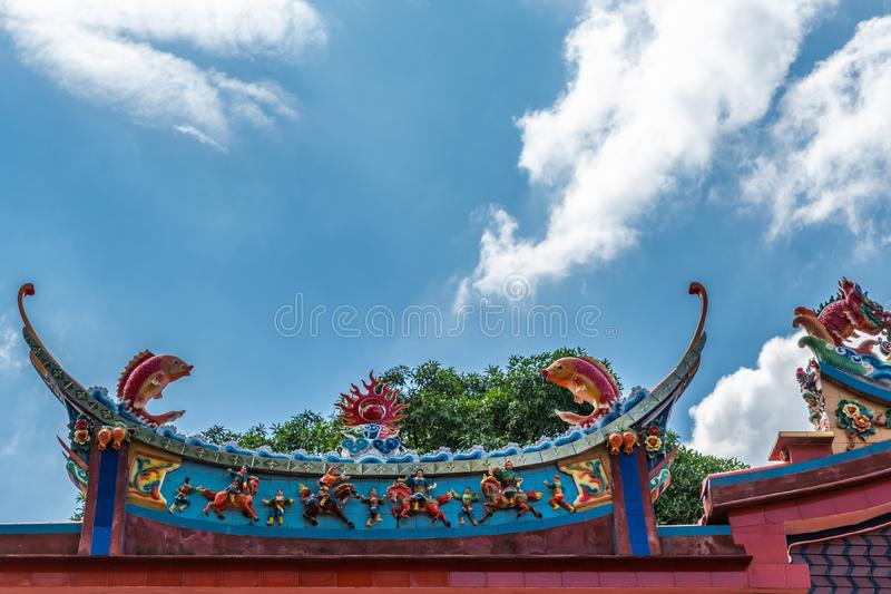 Fish roof decoration at ceremonial hall at Chinese Cemetery in Manila Philippines. Manila, Philippines - March 5, 2019: Chinese Cemetery in Santa Cruz part of royalty free stock images