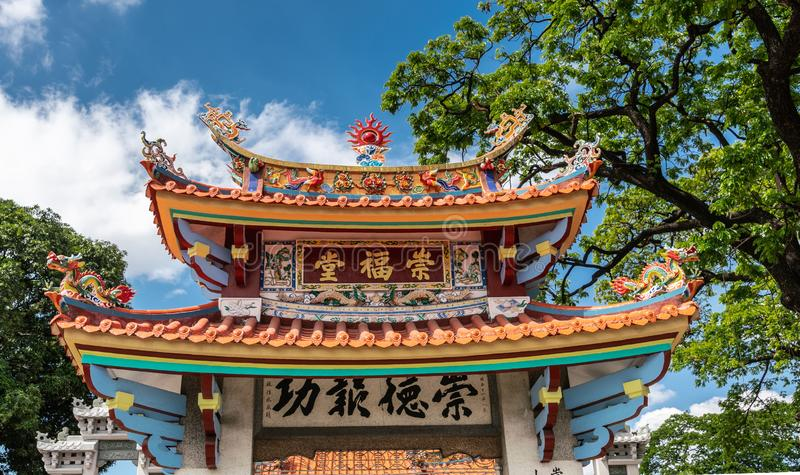 Crowning decoration on gate to temple at Chinese Cemetery in Manila Philippines stock images
