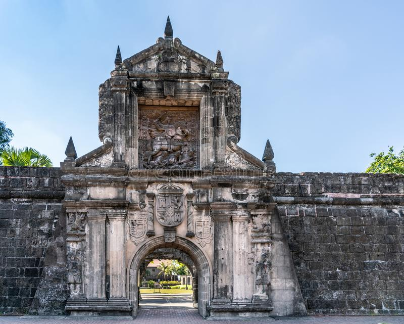Saint James image at main gate to Fort Santiago, Manila Philippines. Manila, Philippines - March 5, 2019: Fort Santiago. Monumental main gate into the fortress royalty free stock photography