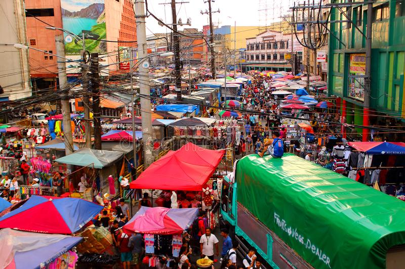 Street market at Chinatown in Manila, Philippines. Manila, Philippines - September 24, 2018: Top view of the vibrant crowded market at Chinatown district, Manila royalty free stock photography