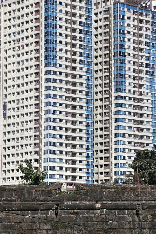 Manila residential architecture. World overpopulation - super high density apartment buildings in Manila, Philippines royalty free stock photos