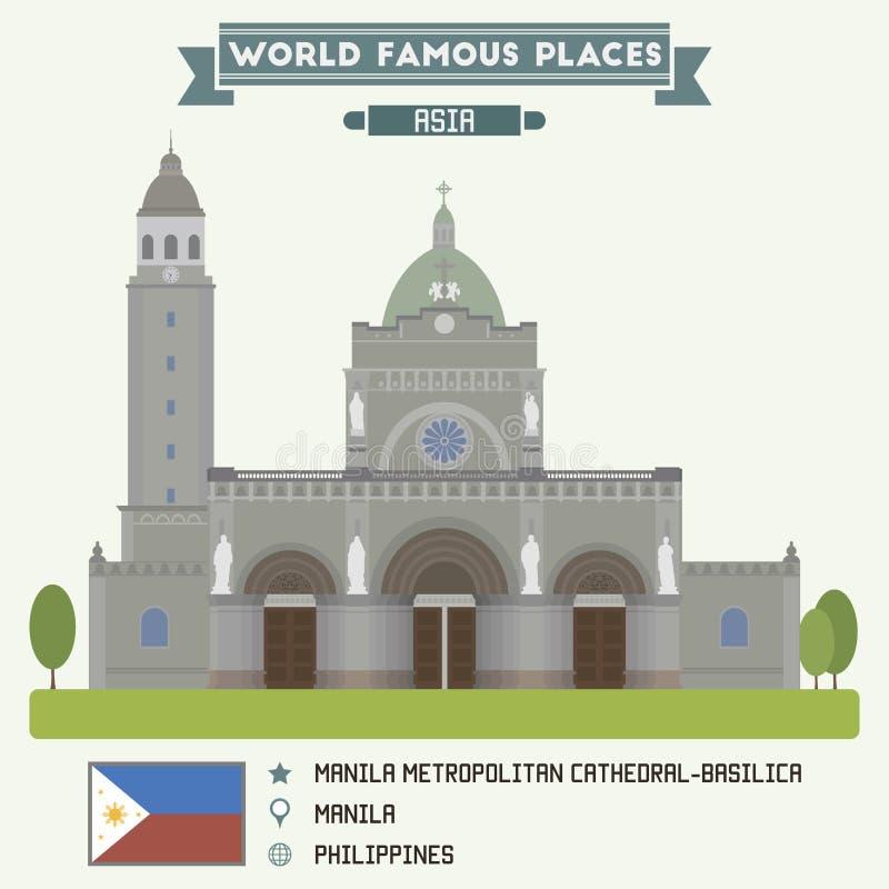 Manila storstads- Domkyrka-basilika manila vektor illustrationer