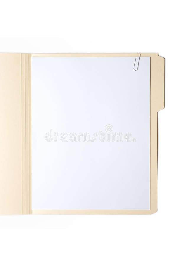 Manilla Folder with Paper and Clip royalty free stock images