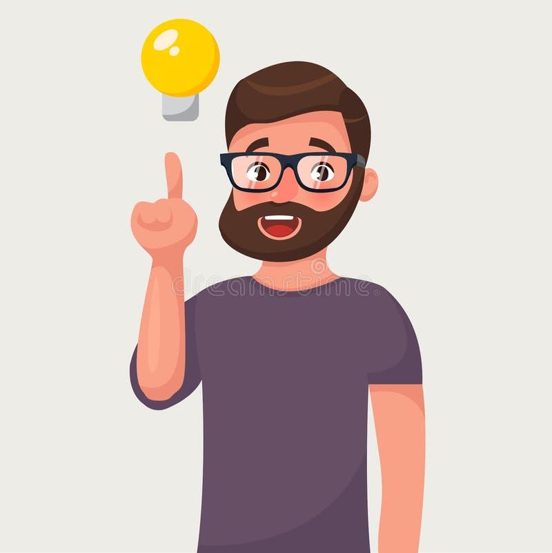 Manin mit einem angehobenen Finger und einer Birne Konzept einer Idee Vektorillustration in der Karikaturart Konzept einer Idee lizenzfreie abbildung