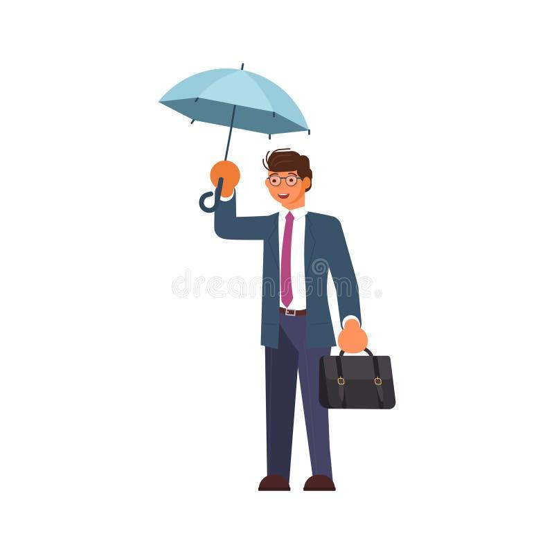 Maninnehavparaply under regnet stock illustrationer