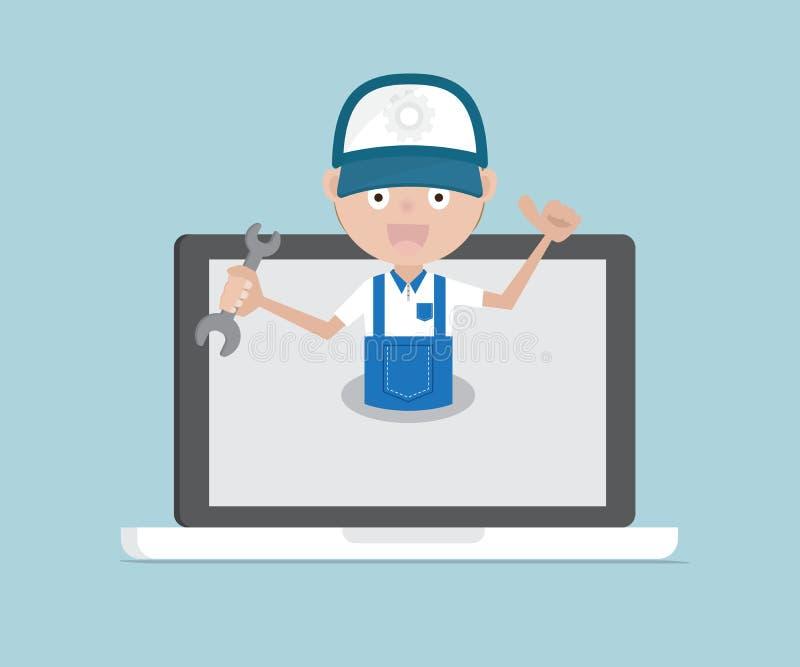 Maninnehavskiftnyckel på begrepp för bärbar datorsystemunderhåll stock illustrationer