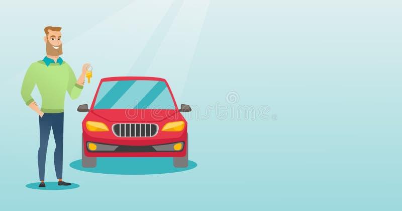 Maninnehavtangenter till hans nya bil vektor illustrationer