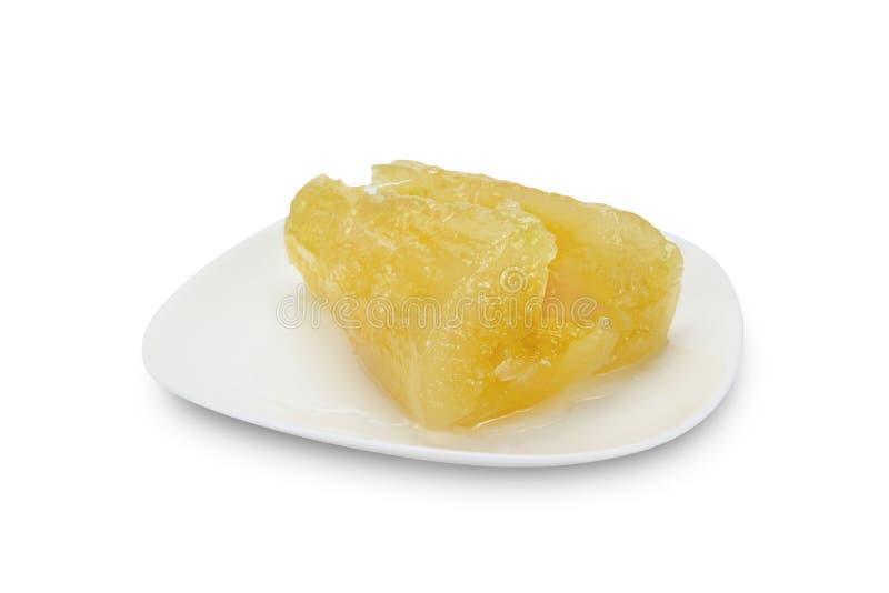 Maniok of tapiopca in stroop, Thais Dessert, het knippen weg royalty-vrije stock afbeeldingen