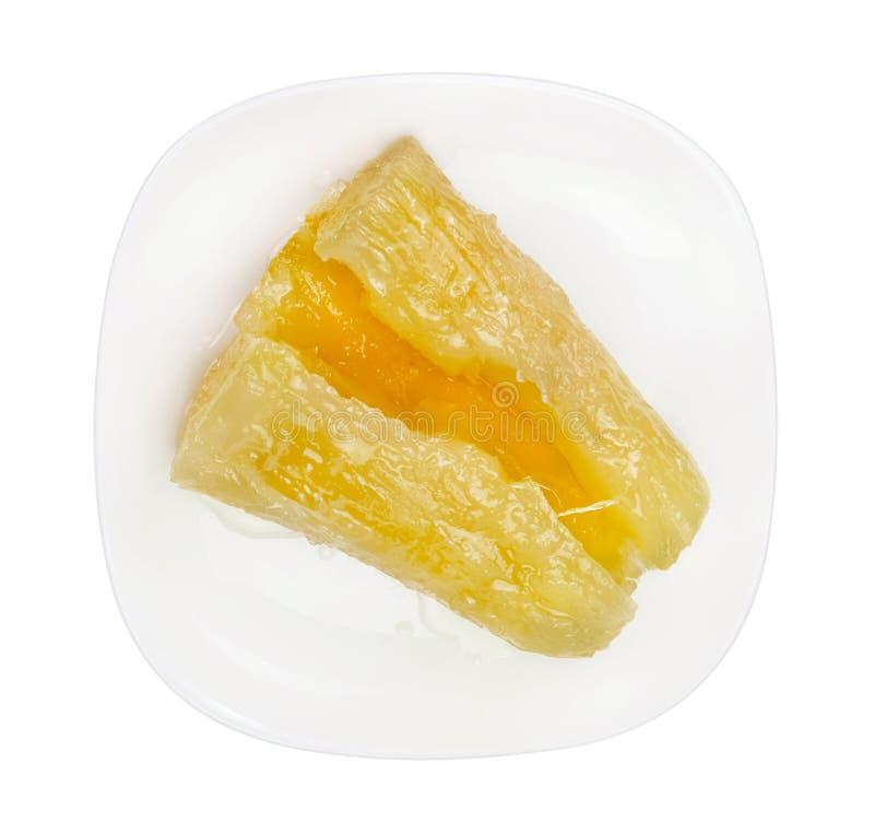 Maniok of tapiopca in stroop, Thais Dessert, het knippen weg stock afbeelding
