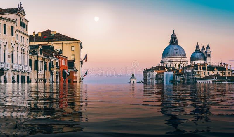 Manipolazione di Digital del canale sommerso grande a Venezia, Veneto, Italia immagini stock libere da diritti