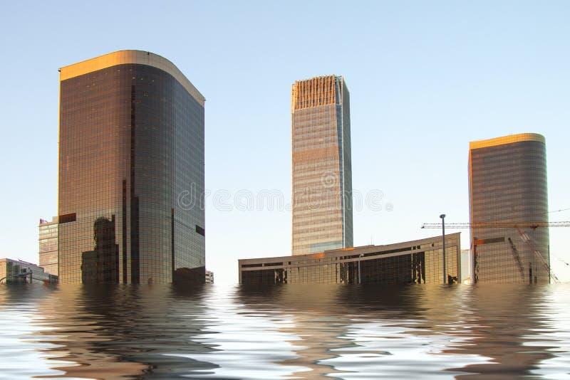 Manipulación de Digitaces de inundado nuevamente para construir altos edificios modernos de la subida Concepto del cambio de clim imagenes de archivo