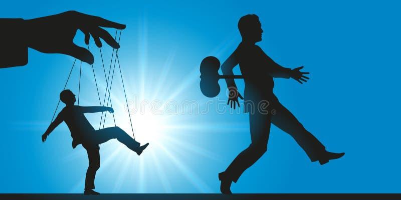Manipulación en el lugar de trabajo, con el personal actuando como los robots o marionetas libre illustration