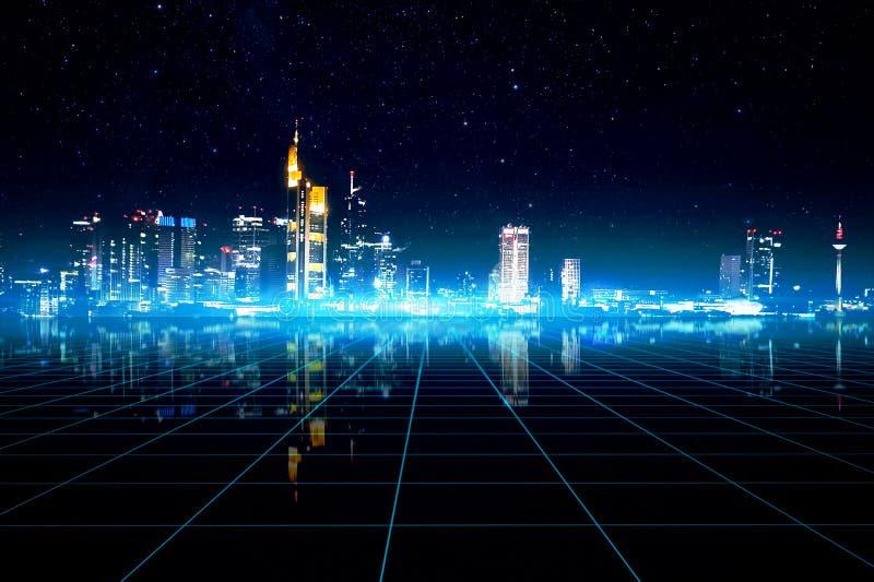 Manipulación futurista del paisaje urbano de Francfort Alemania libre illustration