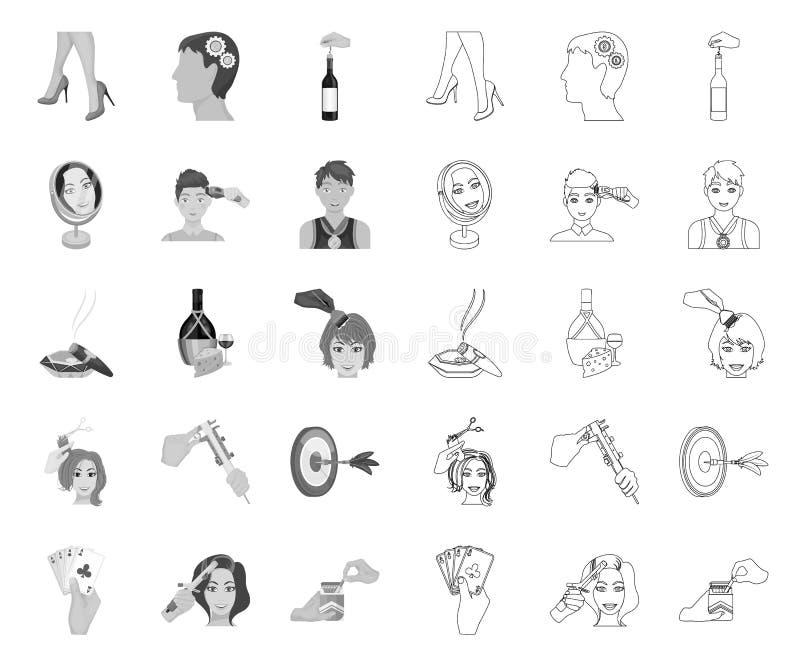 Manipulacja r?kami mono, kontur ikony w ustalonej kolekcji dla projekta E ilustracji