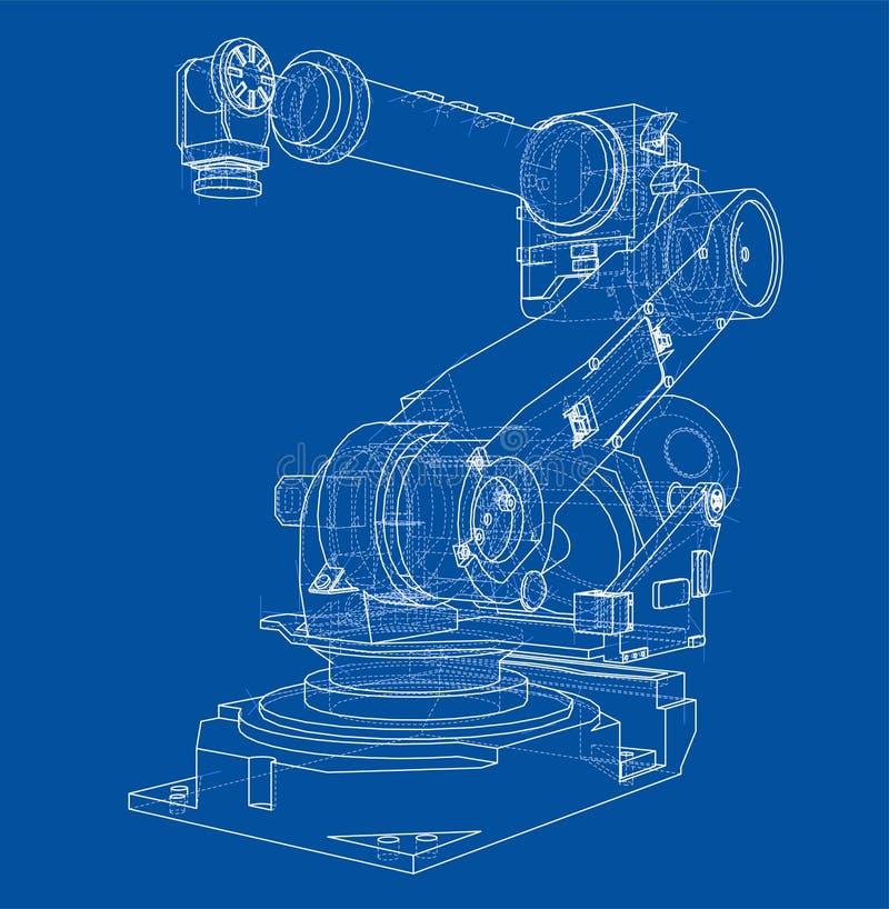 Manipulador do robô industrial Imagem do vetor ilustração stock