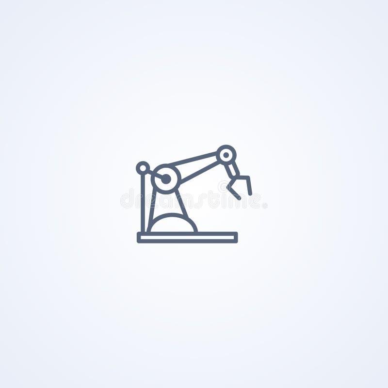 Manipulador robótico industrial do braço do conceito da máquina, a melhor linha cinzenta ícone do vetor ilustração royalty free