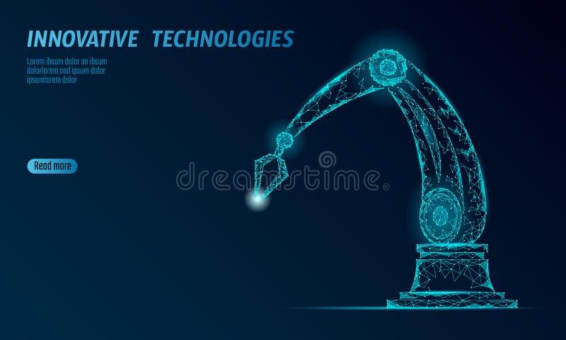 Manipulante polivinílico bajo del brazo del robot Forma del triángulo del montaje de la construcción de la parte Los puntos conec libre illustration